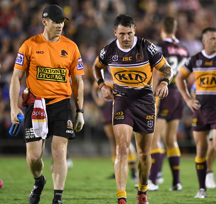 Jack Bird leaves the field injured during the 2020 trials.