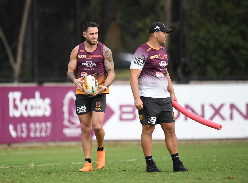 Former Broncos captain Darius Boyd and coach Anthony Seibold.