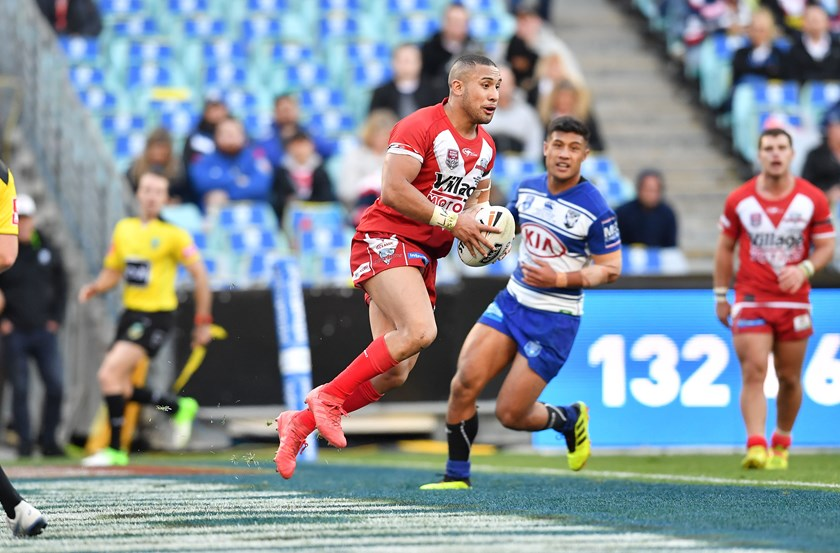 Redcliffe back-rower Jamil Hopoate takes on the Bulldogs on grand final day.