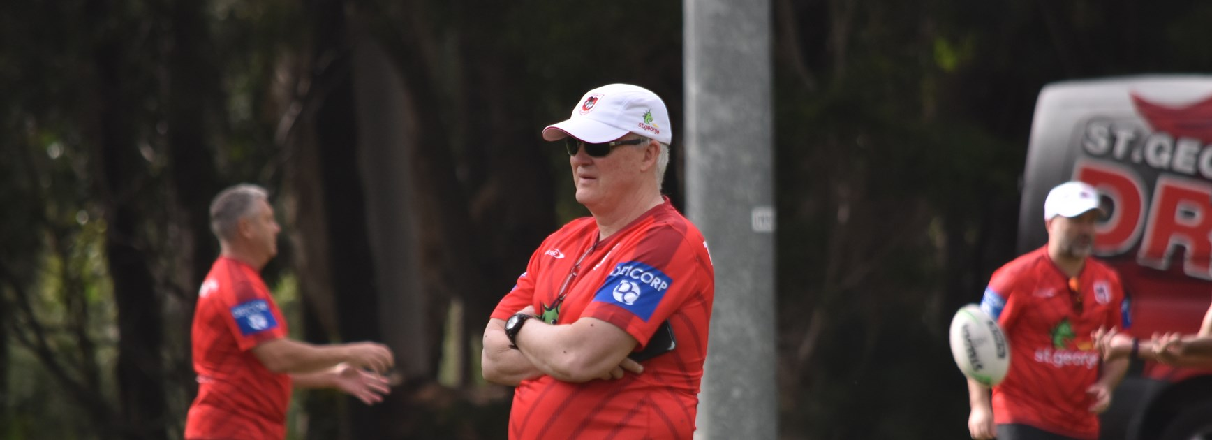 Anthony Griffin watches over Dragons training.