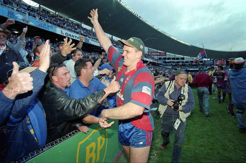 Paul Harragon celebrates the Knights' emotional '97 triumph with the fans.
