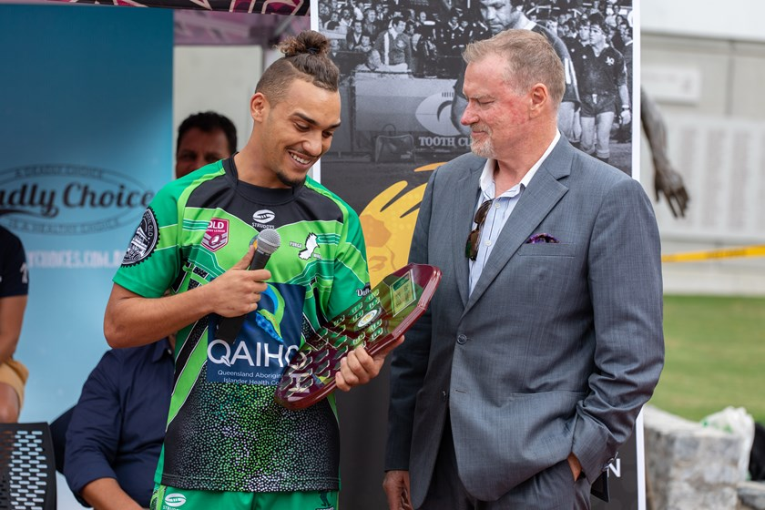 Dan West-Pes, a member of the Purga Wagtails team that won the 2019 Murri Carnival, with Arthur Beetson Foundation chairman Steve Johnson at the launch of the 2020 Murri Carnival.