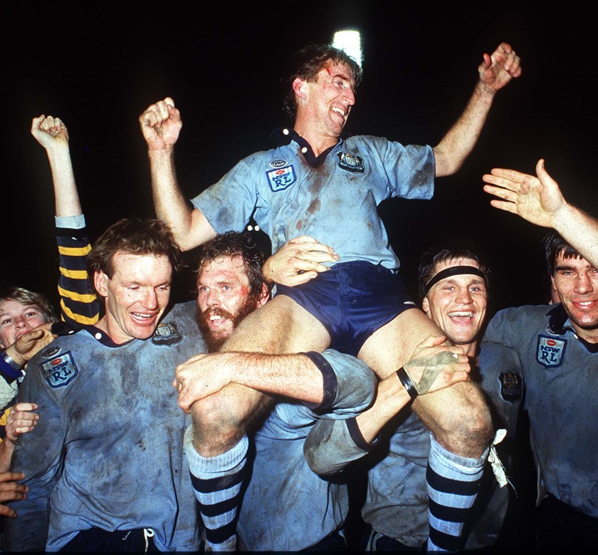 Steve Mortimer and the Blues celebrate their first series win in Origin.