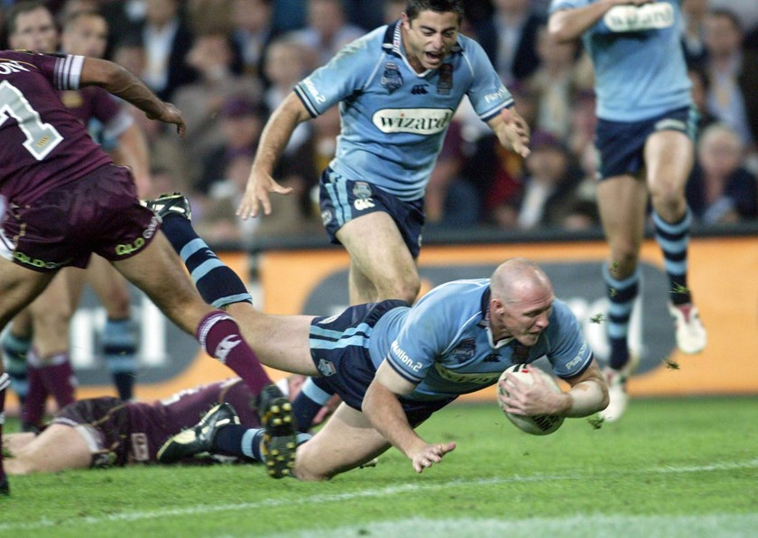 Craig Fitzgibbon scores for the Blues in 2005.