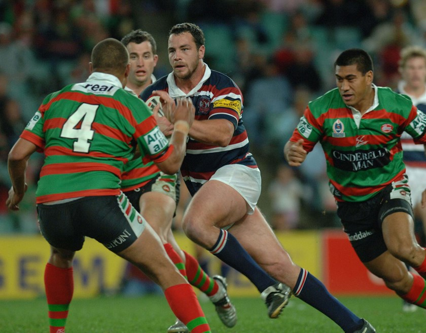 Roosters forward Adrian Morley on the rampage in 2005.