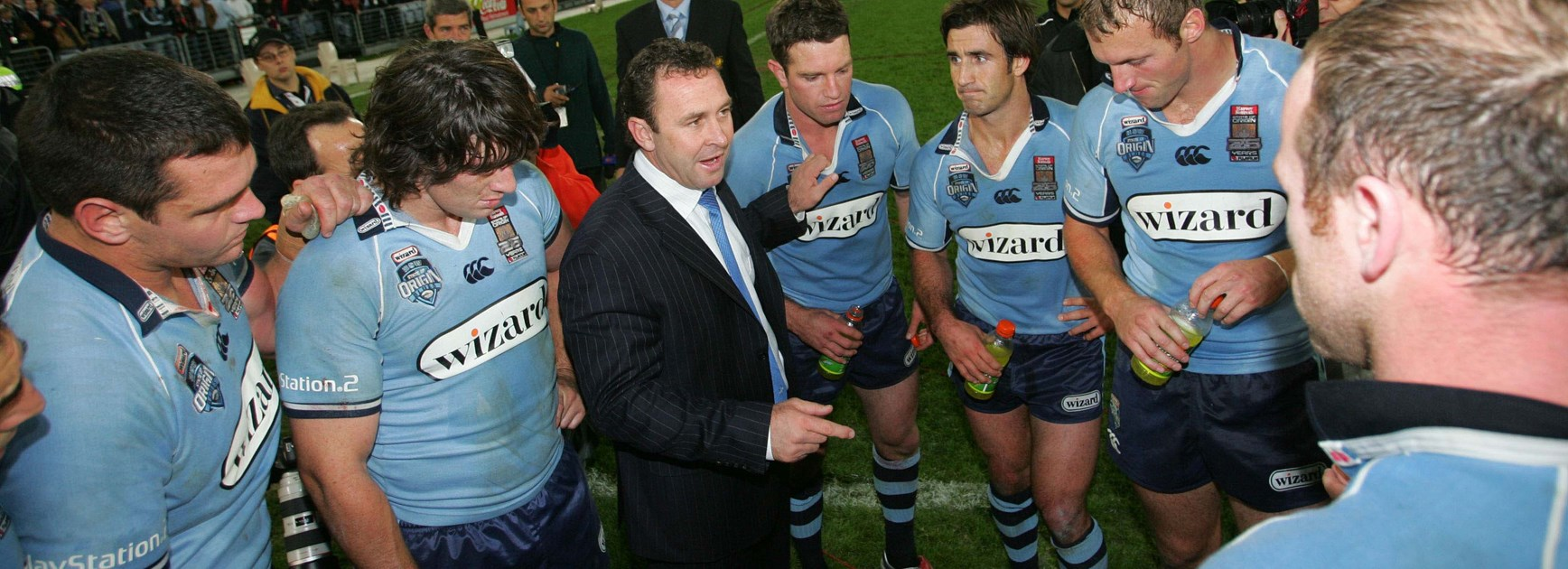 Ricky Stuart addresses his troops after the triumph.