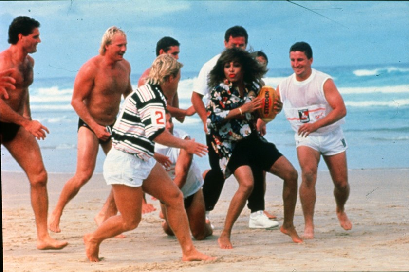 Tina Turner and Gold Coast Seagulls players in the early 90s.