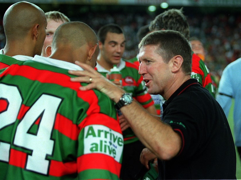 Craig Coleman talks to his team during his time as Rabbitohs coach.