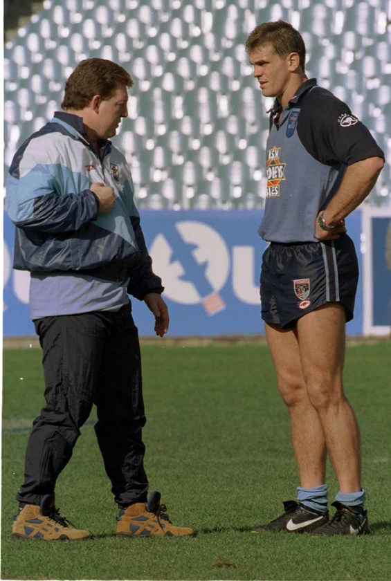 Phil Gould talks tactics at Blues training with Paul Harragon in 1995.