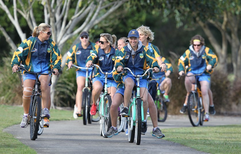 Nat Dwyer and the Jillaroos on their way to training.