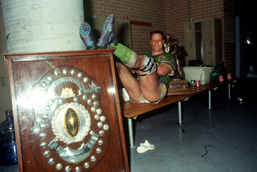 Glenn Lazarus relaxes after the 1990 grand final win.