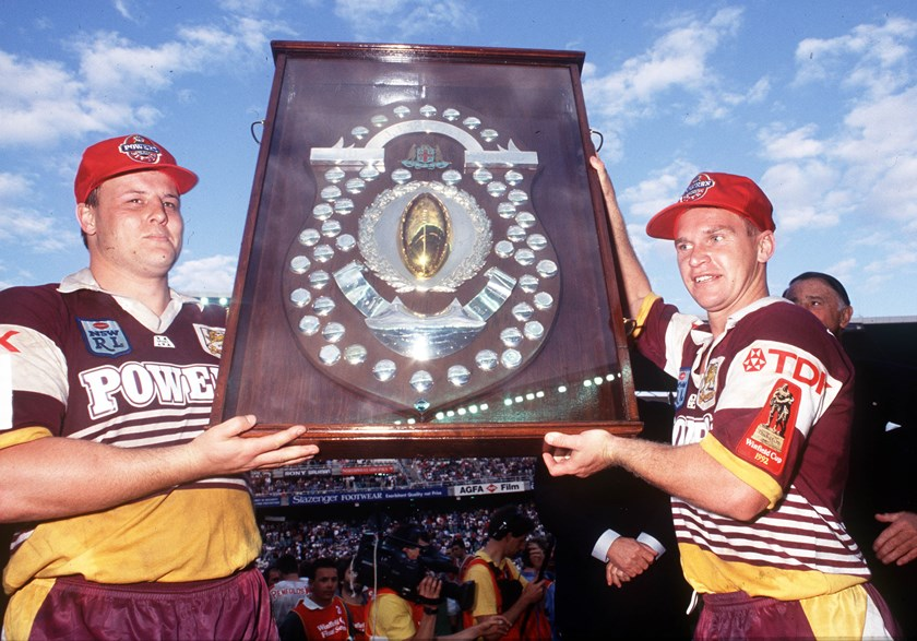 Glenn Lazarus and Allan Langer after the Broncos' first title in 1992.