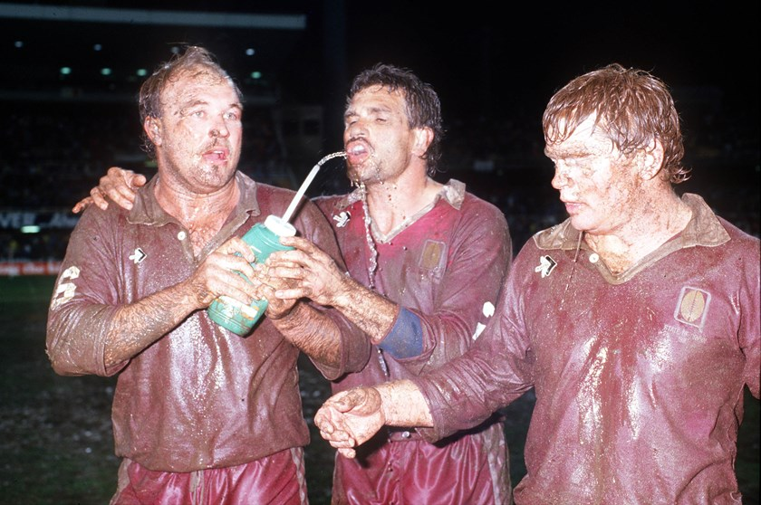 Wally Lewis, Colin Scott and Paul Vautin share a drink after an Origin in 1988.