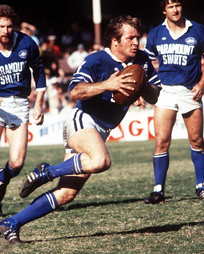 Tom Raudonikis leads Newtown into the fray during the 1981 grand final loss to Parramatta at the SCG.