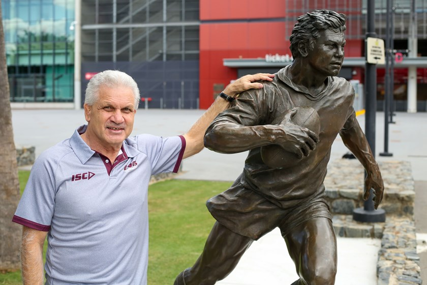 Colin Scott with statue of his idol Arthur Beetson.