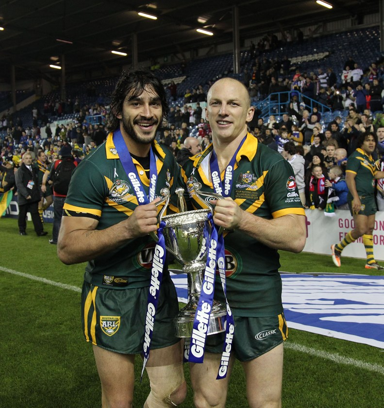 Johnathan Thurston and Darren Lockyer starred for the Kangaroos in 2011.