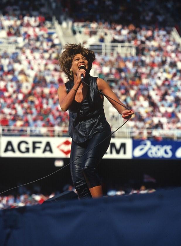 Tina Turner performing at the 1993 grand final.