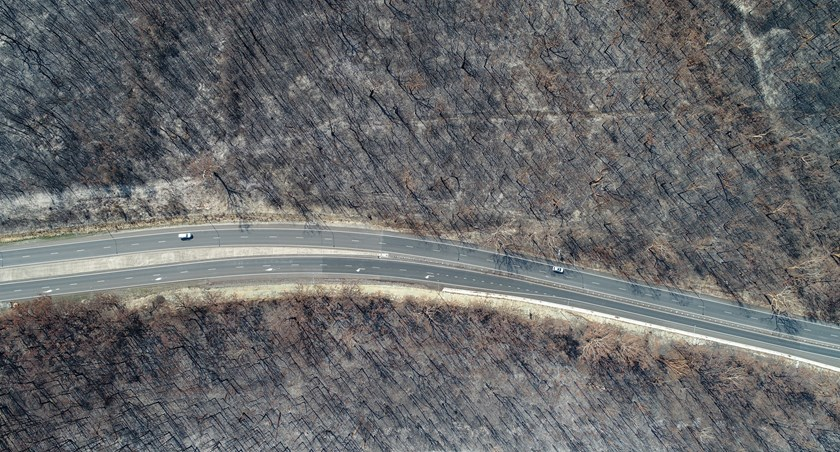 An aerial view of the South Coast following the fires.