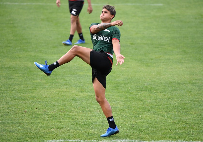 Latrell Mitchell goes through his paces at Rabbitohs training at Redfern.