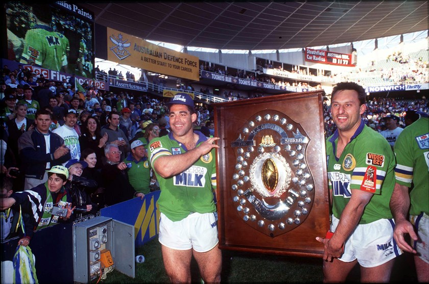 Mal Meninga and Laurie Daley after the 1994 grand final.