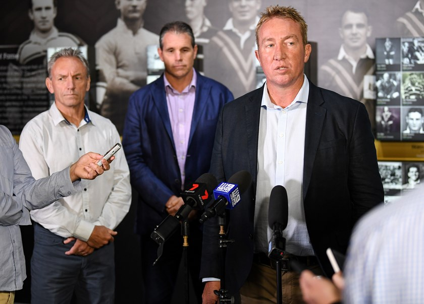 Roosters coach Trent Robinson speaking on Wednesday.