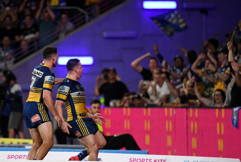 Reed Mahoney scores for the Eels in the 2020 season opener.