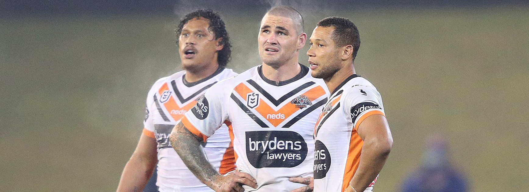 Dejected Tigers Luciano Leilua, Russell Packer and Moses Mbye.