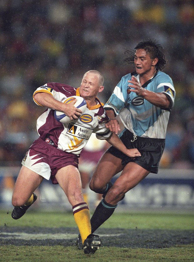 Tawera Nikau moves in to tackle Kevin Walters in 1997.