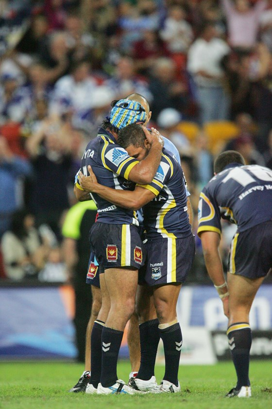 Cowboys legends Johnathan Thurston and Matt Bowen.