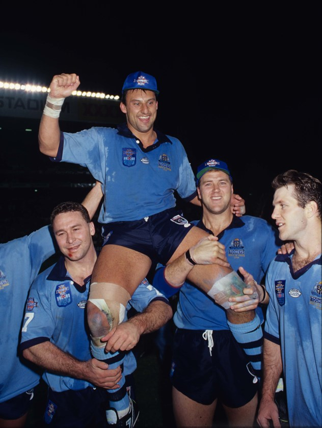 Ricky Stuart chairs his mate Laurie Daley off after an Origin series win in 1994.