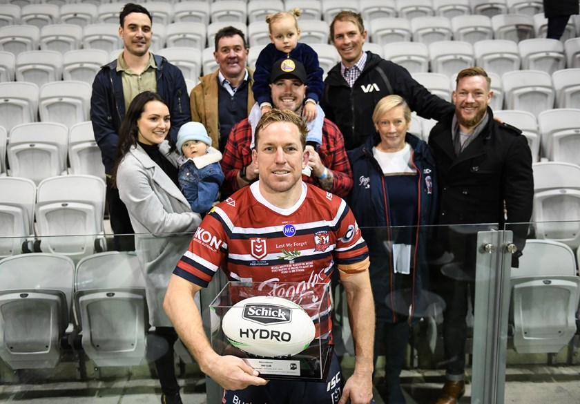 Mitch Aubusson with close family and friends after his 300th game for the Roosters.