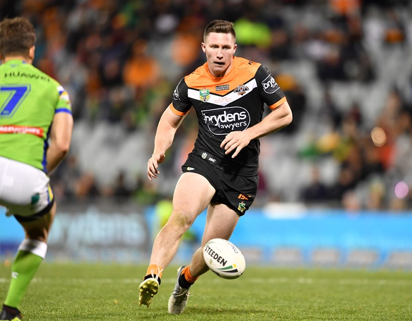 Tyson Gamble began his NRL career in 2018 at the Wests Tigers.