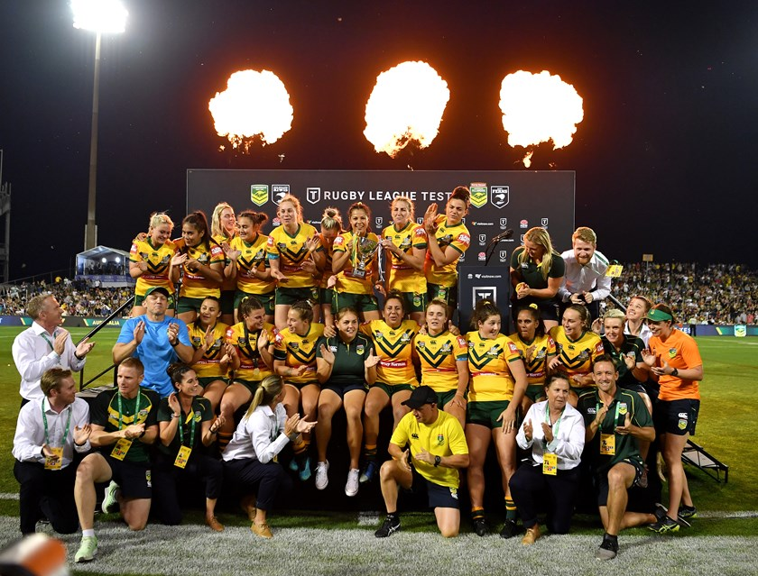 Debbie Brewin (bottom right) celebrates with the Jillaroos after last year's Test win over New Zealand in Wollongong.