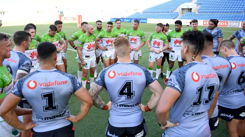Raiders co-captain Josh Hodgson thanks the Warriors after their round-two clash on the Gold Coast.