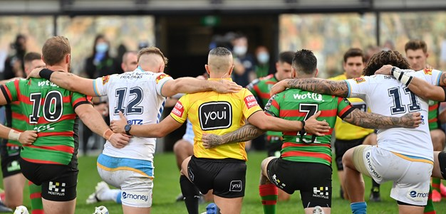 Rabbitohs, Titans take a knee as NRL backs players' united stand