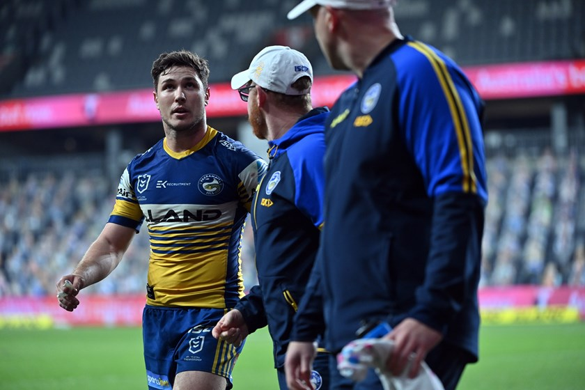 Mitchell Moses leaves the field injured in round seven.