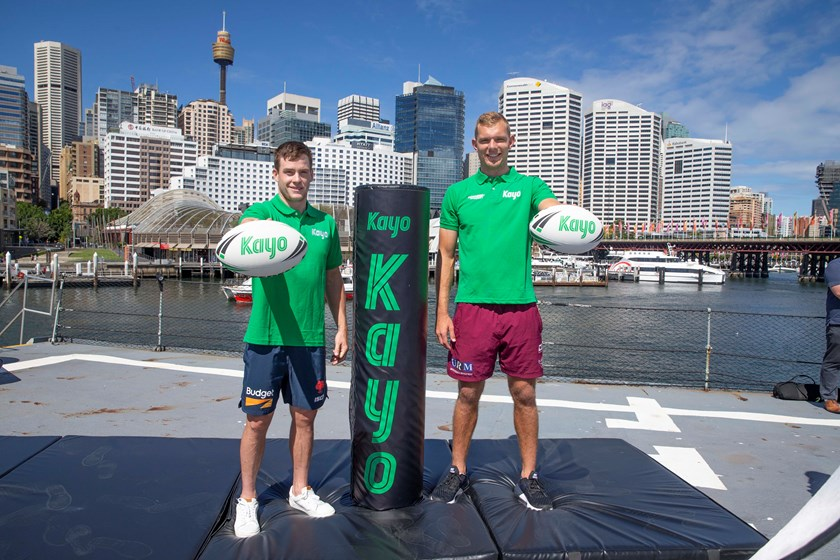 Luke Keary and Tom Trbojevic at the Kayo launch in Sydney.