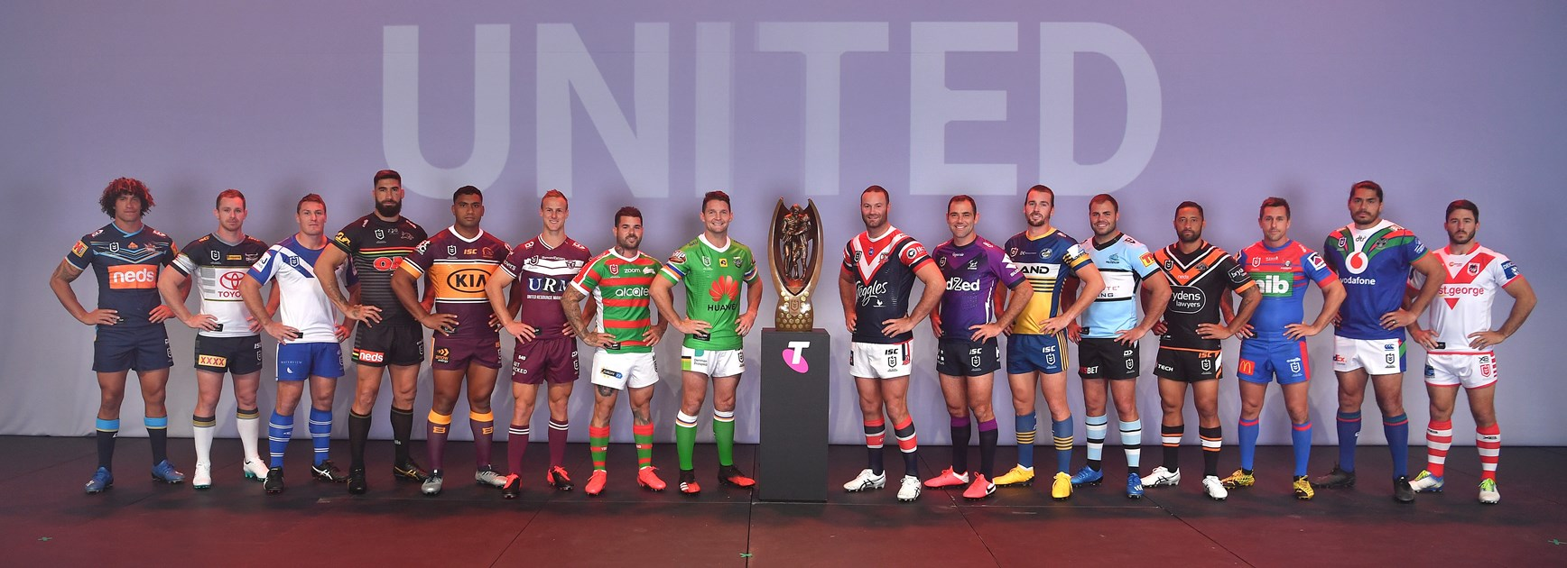 Representatives of all 16 clubs at the 2020 Telstra Premiership season launch.