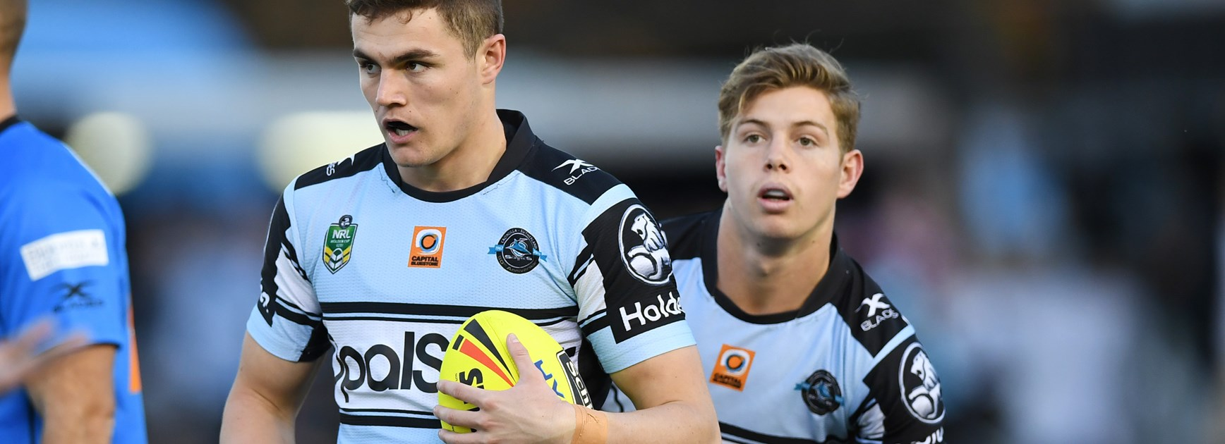 Sharks Kyle Flanagan and Blayke Brailey in the under-20s.