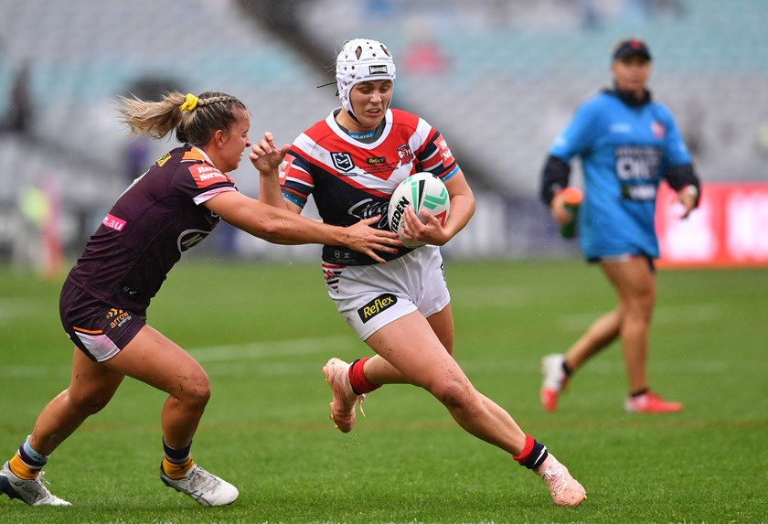 Hannah Southwell on the charge for the Roosters during the NRLW grand final.