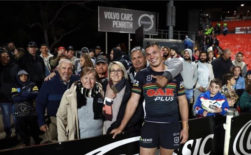 Brent Naden after his NRL debut in 2019 with grandparents Ron and Monica Blackhall, his grandfather Ralph Naden, mother Julie and father Geoff.