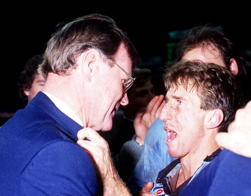 Blues coach Terry Fearnley and captain Steve Mortimer lap up the 1985 series win.