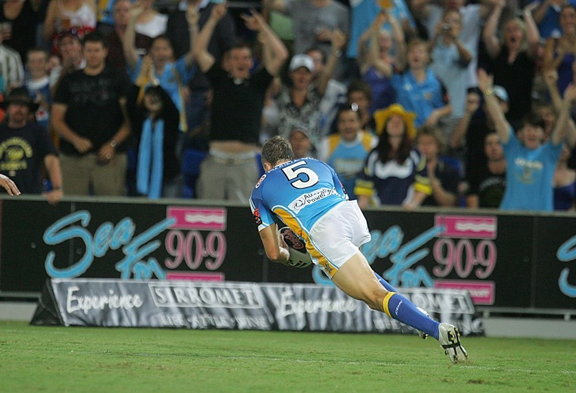 Jordan Atkins crosses for one of his four tries on debut.
