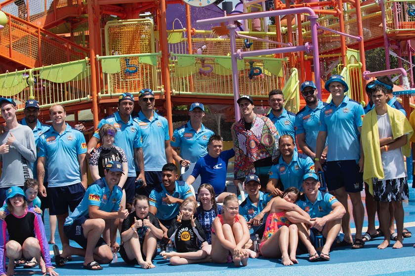 Titans players helped celebrate National Disabilities Day with kids at Whitewater World on Tuesday.