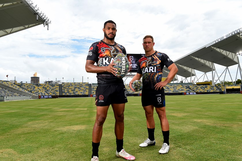 Hamiso Tabuai-Fidow and Reuben Cotter at the All Stars launch in Townsville.