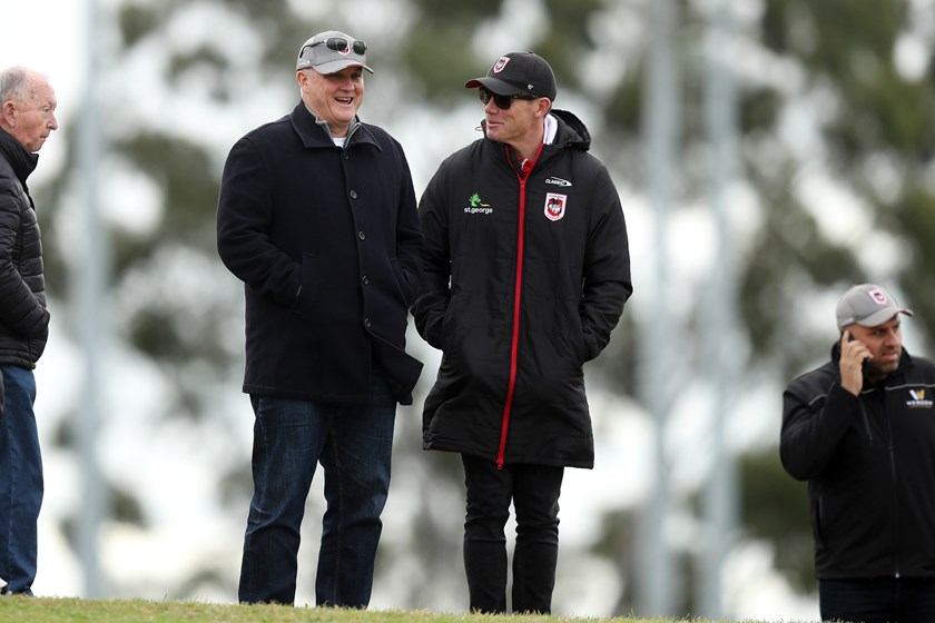 Dragons coach Anthony Griffin watching Jack de Belin's first game back.