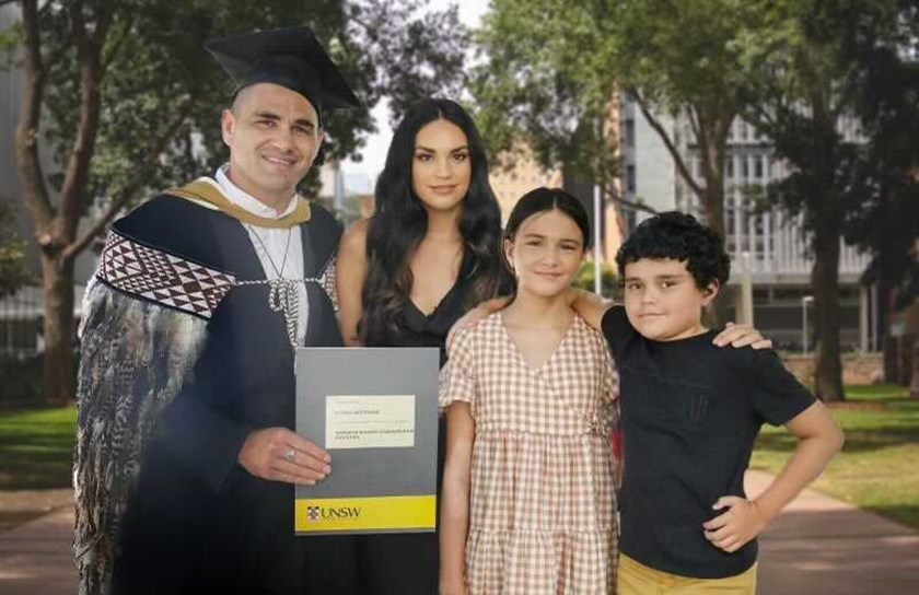 Russell Packer with partner Lara Wilcox, daughter Madison and son Marley.