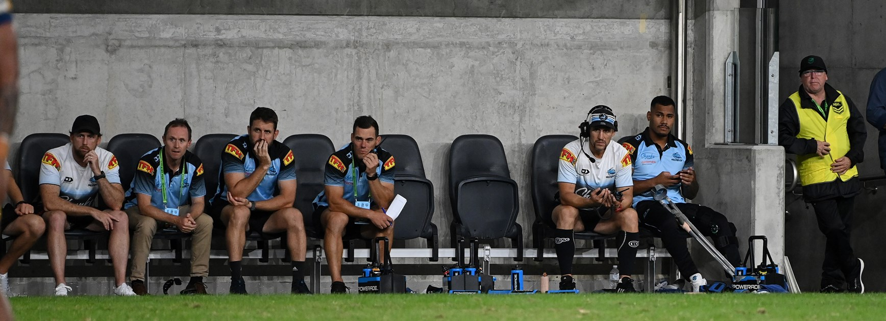 The Sharks bench with no interchange players.