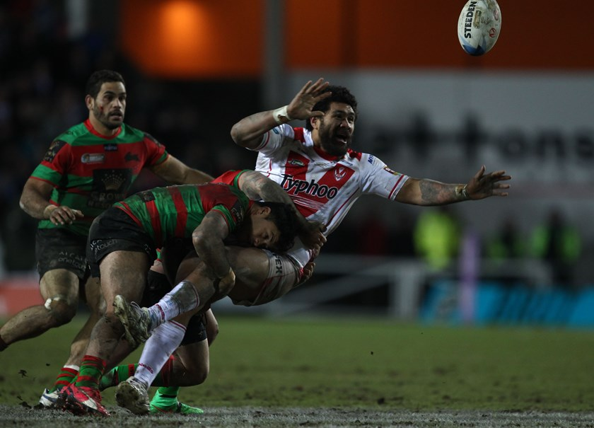 Mose Masoe passes for St Helens against Souths in the 2015 World Club Challenge.