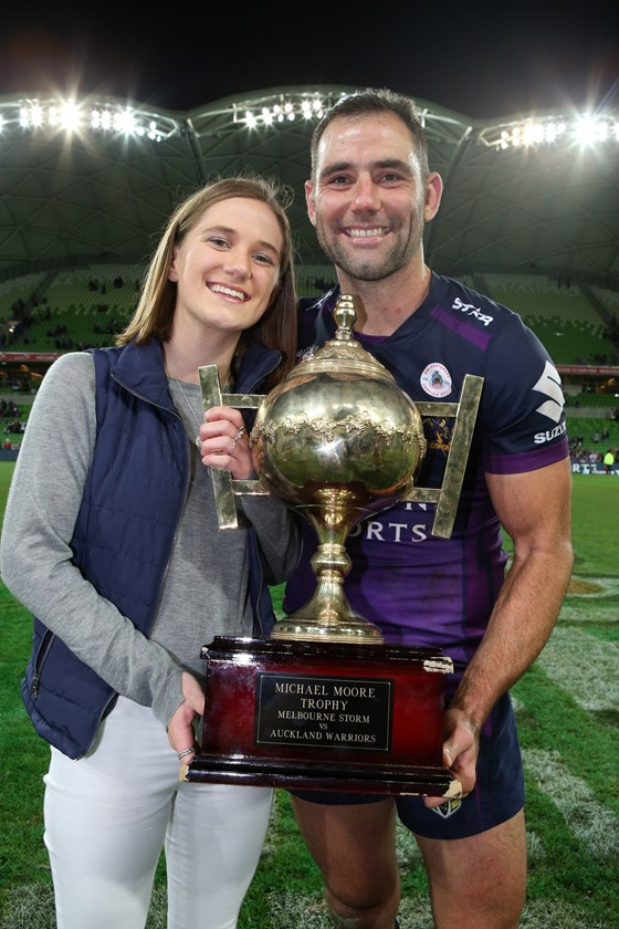 Georgia Moore with Cameron Smith  after the Storm had won the Michael Moore Trophy in 2016.